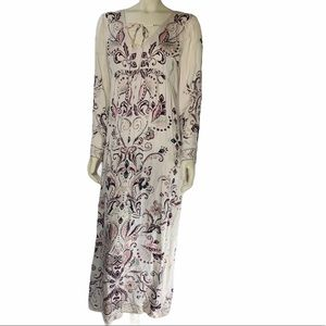 Odd Molly Lg Floral Paisley Maxi Dress Long Sleeve